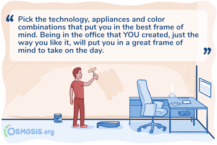 Osmosis illustration of a medical student setting up a home workspace.