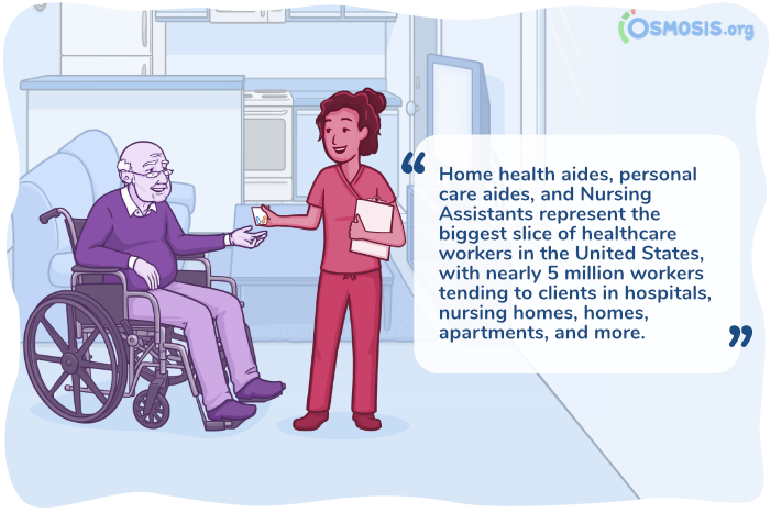 Osmosis illustration of a nurse and an older adult sitting in a wheelchair.