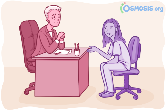 Osmosis illustration of a medical school counseling session.