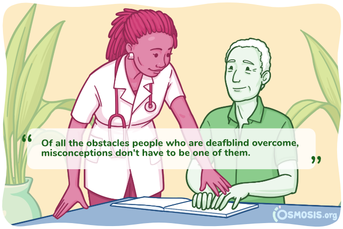 Osmosis illustration of a doctor interacting with a deafblind patient.