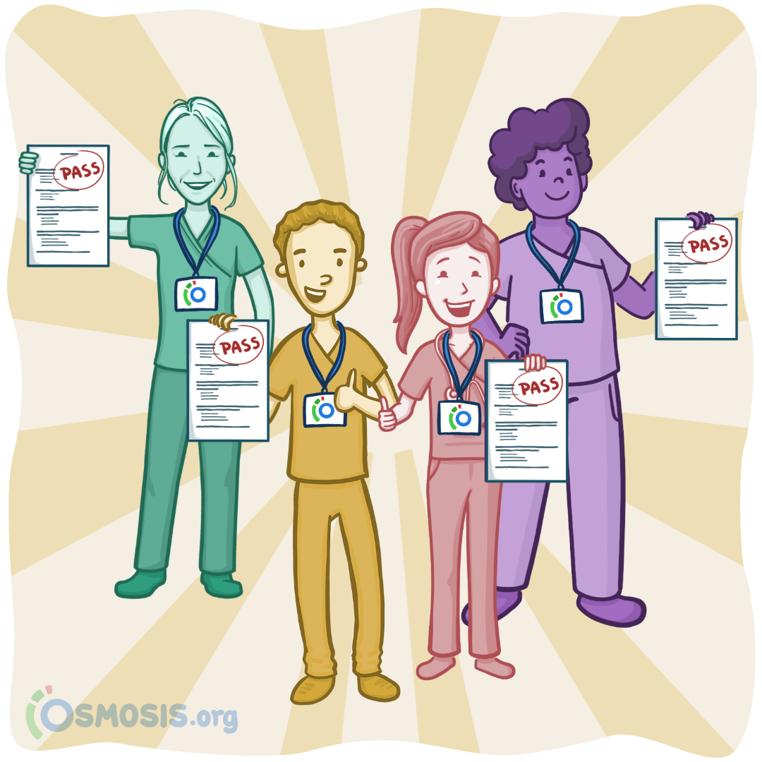 Osmosis illustration of nurses who have aced the NCLEX-RN.