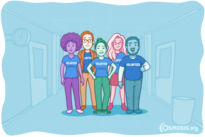 Osmosis illustration of a group of medical student volunteers.