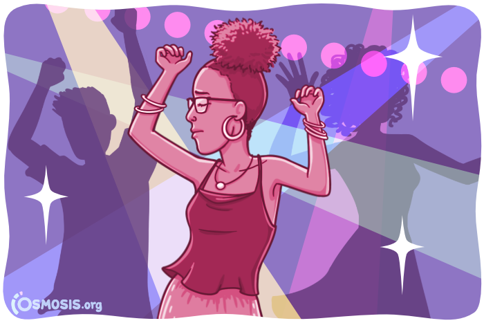 Osmosis illustration of a medical student celebrating by dancing.