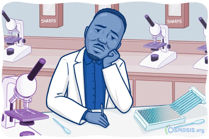 Osmosis illustration of a PhD student feeling burnt-out in a lab.