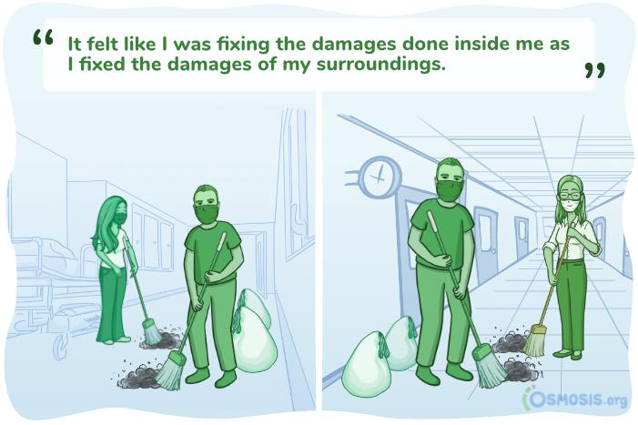 Osmosis illustration of medical students volunteering.