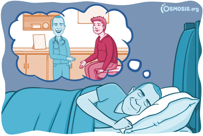 Osmosis illustration of a medical student dreaming about his future career.