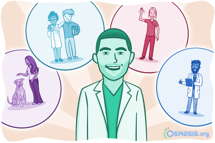 Osmosis illustration of a medical student with a support system.