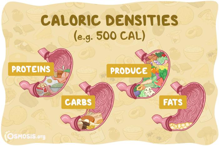 Osmosis illustration of various caloric densities.