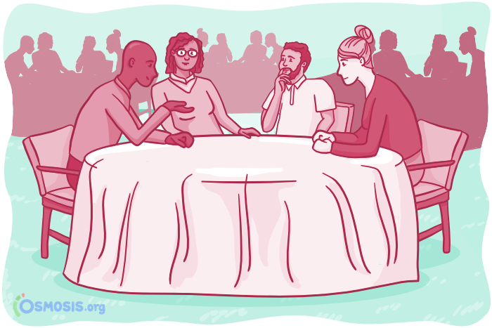 Osmosis illustration of medical students networking at a professional event.