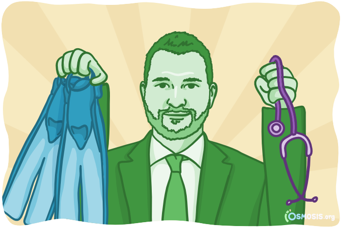 Osmosis illustration of a medical student holding scuba gear.