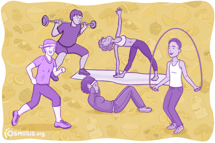 Osmosis illustration of people participating in a fitness class.