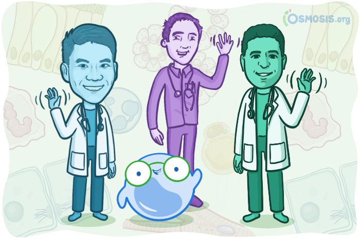 Osmosis illustration of Dr. Justin Ling, Dr. Rishi Desai, and Dr. Ghassan Tranesh standing with Mo.