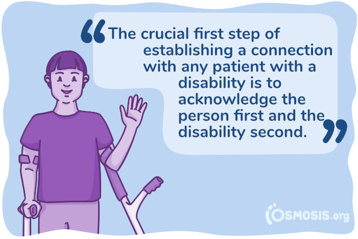 Osmosis illustration emphasizing the importance of recognizing the person first and the disability second.