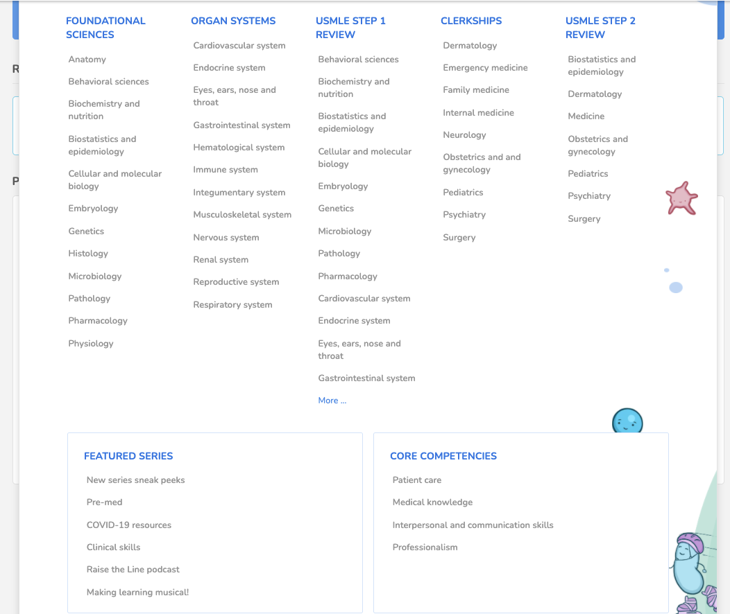 Zoomed-in view of new dropdown menus in the Osmosis Library.