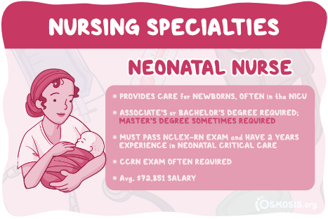 Osmosis illustration showcasing a neonatal nurse's responsibilities, salary expectations, and educational requirements.