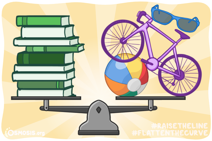 Osmosis illustration of balancing studying with exercise.