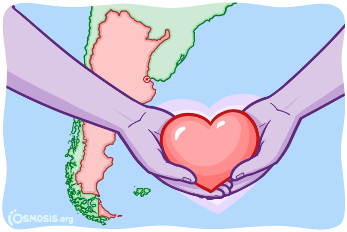 Osmosis illustration of two hands holding a heart in front of a map of Argentina.