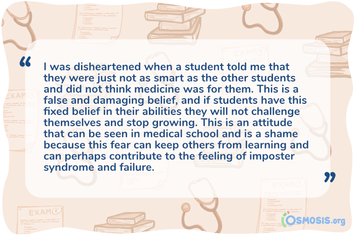Osmosis illustration of a quote showing the importance of fostering a growth mindset in your students.