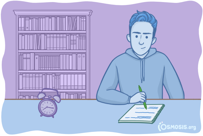Osmosis illustration of a student studying for USMLE® Step 2 CK.