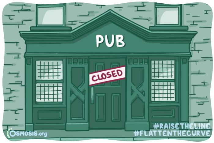 Osmosis illustration of an Irish pub closed due to COVID-19.