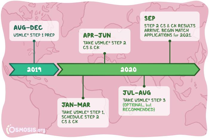 Osmosis illustration of the USMLE board exam timeline.
