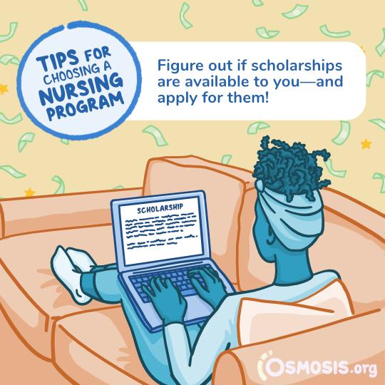 Osmosis illustration of a nursing student applying for scholarships.
