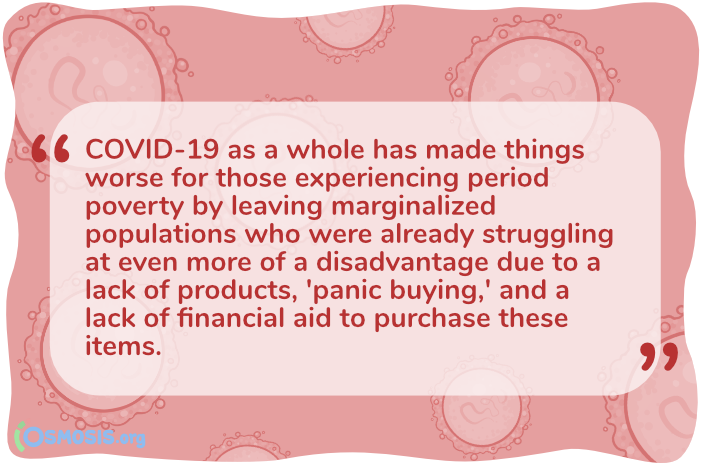 Osmosis illustrated quote about how panic-buying is reducing access to menstrual care products.
