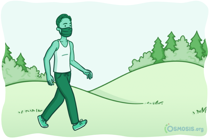Osmosis illustration of Osmosis Health Coach Ishan Dahal going for a pleasant walk in nature.