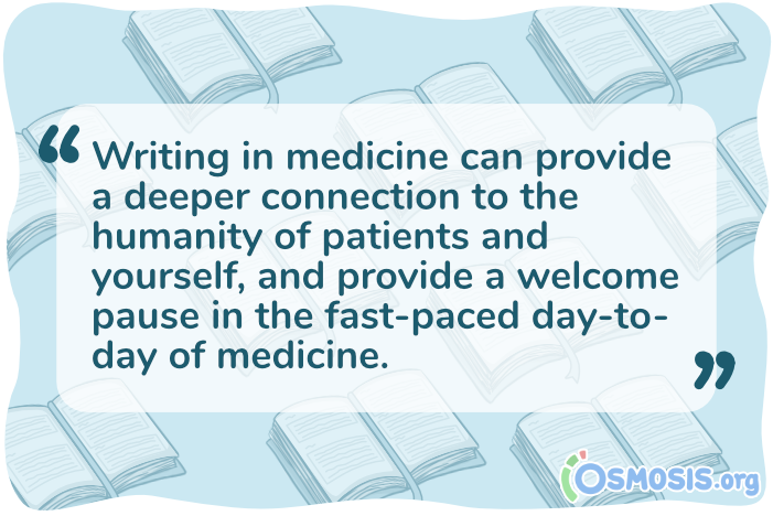 Osmosis illustration of a quote explaining the importance of writing about clerkships.