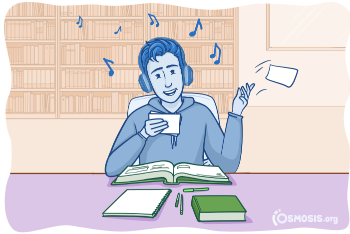 Osmosis illustration of a medical student reviewing flashcards.