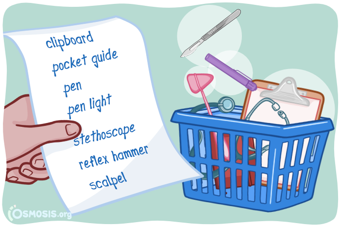Osmosis illustration of a clinical rotations equipment checklist.