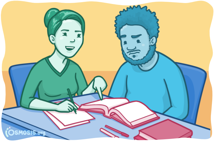 Osmosis illustration of a medical student mentoring a classmate.