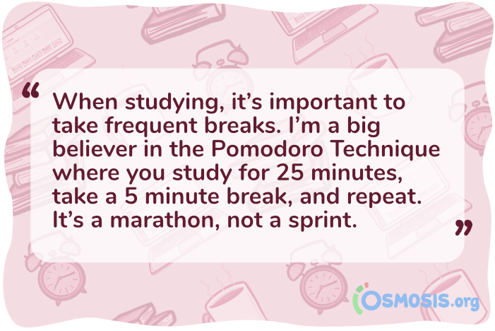 Osmosis illustration of a quote detailing the importance of the Pomodoro technique.