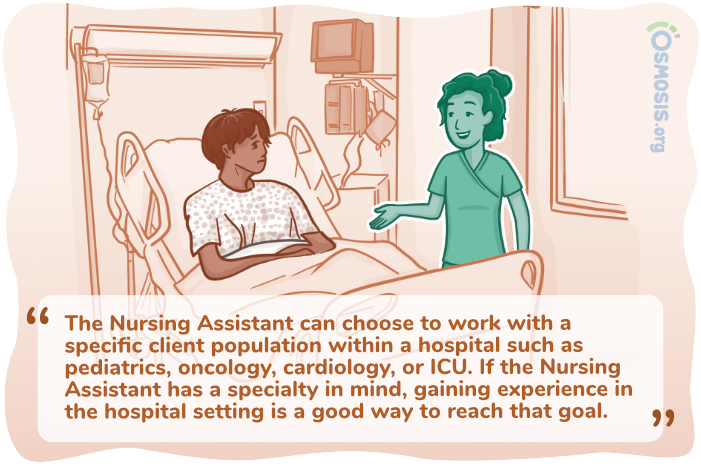 Osmosis illustration of a Nursing Assistant working in a hospital.