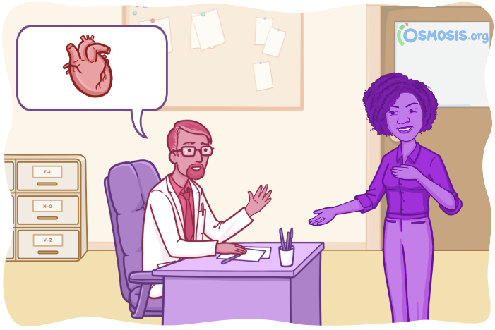 Osmosis illustration of a medical student in conversation with an attending.