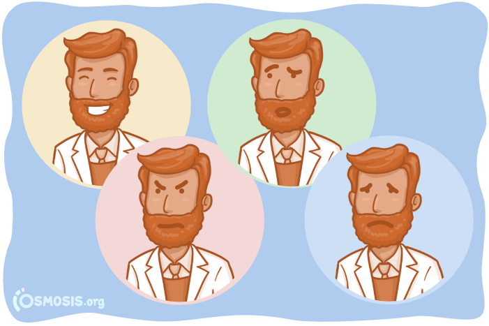 Osmosis illustration of a doctor embracing the full spectrum of emotions.