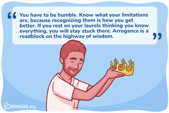 Osmosis illustration indicating the importance of being humble as a health professional.