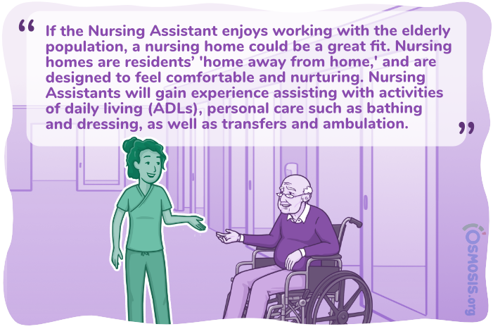 Osmosis illustration of a Nursing Assistant working in a hospice.