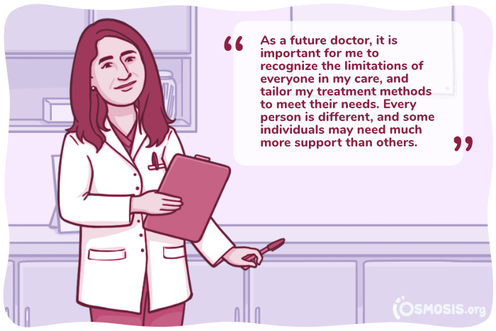 Osmosis illustration of a medical student benefiting from recognizing her implicit bias.