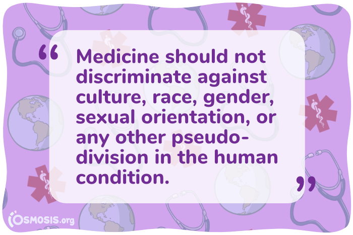 Osmosis illustration of a quote discussing the need for more inclusive practices in medicine.