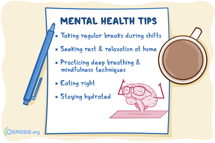 Osmosis illustration of mental health tips for Nursing Assistants.