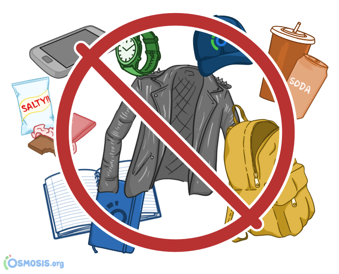 Osmosis illustration of prohibited items you cannot bring to a Prometric test center.