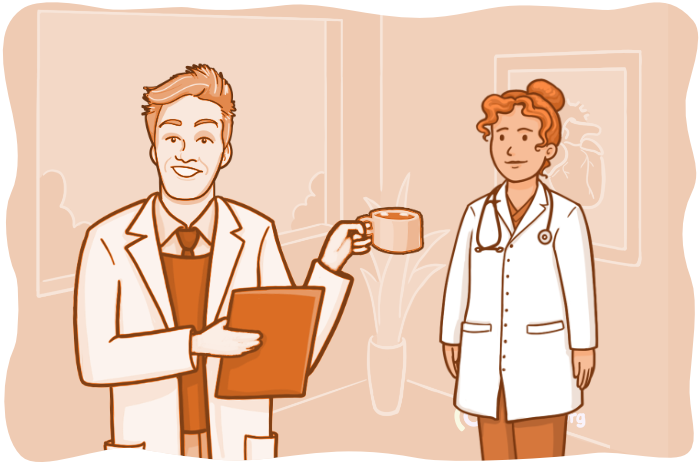Osmosis ilustration of Kieren giving coffee to a doctor while holding a sheet of paper.