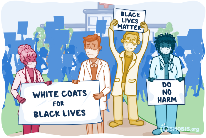 Osmosis illustration of medical students attending an anti-racist protest.