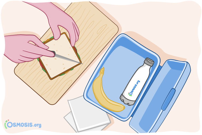 Osmosis illustration of someone packing a lunch to bring to USMLE Step 2 CK.