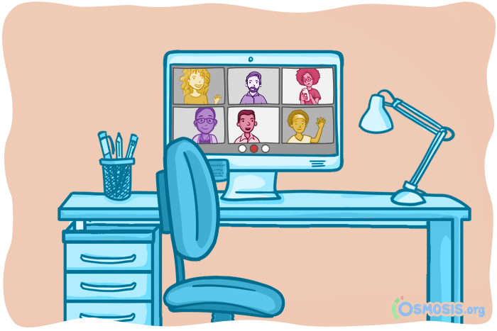 Osmosis illustration of friends meeting up on Zoom.