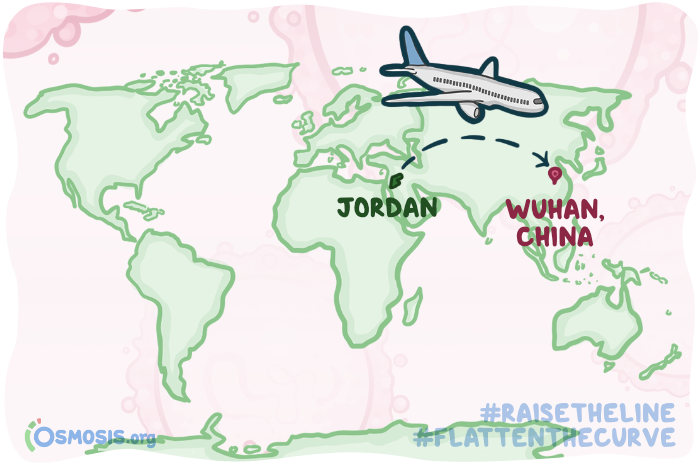 Osmosis illustration of the flight route from Jordan to Wuhan, China.