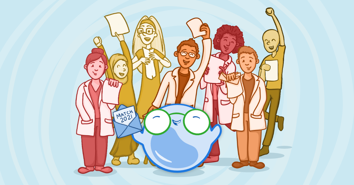 Osmosis illustration of medical students who have successfully matched.