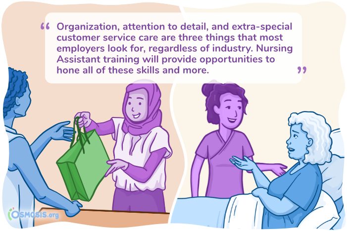 Osmosis illustration indicating the transferable skills for Nursing Assistants.