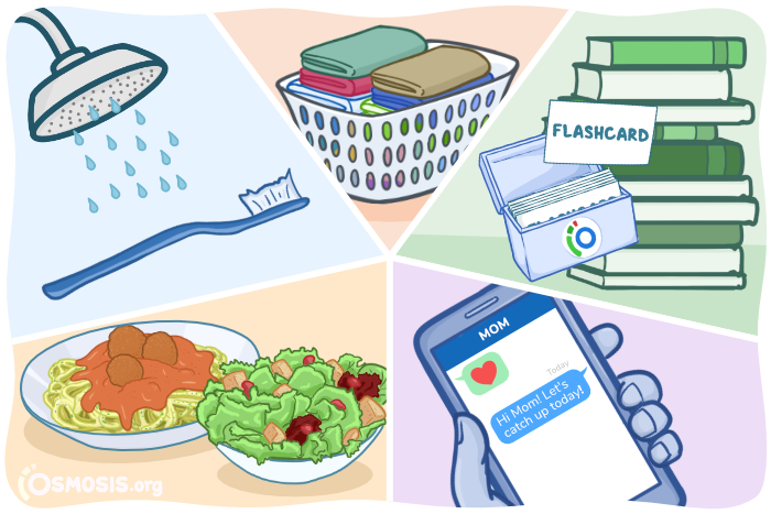 Osmosis illustration of habits you must maintain during Step 1 Study: brushing your teeth, laundry, flashcards, texting loved ones, and eating a balanced diet.